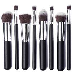 LuxeBell® Kit de Pinceau maquillage Professionnel 8PCS Ombre à Paupière argent Blush Fondation Pinceau Poudre Fond de teint Anti-cerne   Your #1 Source for Beauty Products