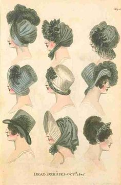 Fashions of London and Paris, Head Dresses, October 1805.
