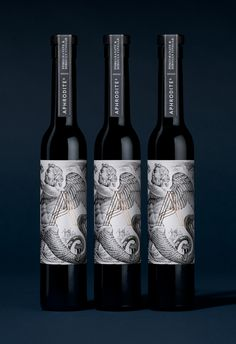 Aphrodite's / Design / Packaging / Bottle / Illustration / Gold Foil / Premium / Mythology / Wood Cut / Oil / Vinegar / Pomegranate