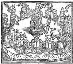 A medieval woodcut depicting King Arthur and his valiant Knights of the Round Table, who served as a model for secular orders.