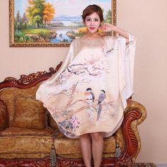 Silk Long Dress/100% Natural Silk Satin Women Dresses 2015 New Summer Style Desigual Plus Size Women Vintage Elegant Clothing