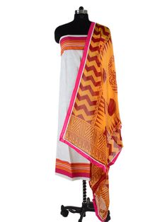 Cotton Unstitched Suit Sanganer Print from ethnicrajasthan.com