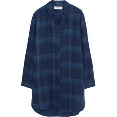 MiH Jeans Oversized plaid denim shirt ($150) ❤ liked on Polyvore featuring tops, dresses, shirts, blue, flannels, mid denim, oversized tops, oversized plaid shirt, oversized denim shirt and shirts & tops