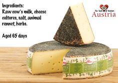 Krauterschatz is an Austrian #cheese made with raw cow's milk, coated with 8 alpine herbs. It's super smooth and semi-hard, with a bold flavor and rich texture that is excellent with cured meats and hearty bread.