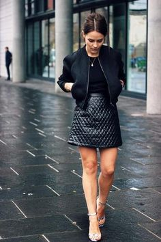 7 ways to spice up a basic black t-shirt - wear a black t-shirt with a quilted leather mini skirt, cropped jacket and sexy heels