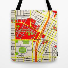 Map design of the University of southern California, LA Tote Bag by Efratul - $22.00