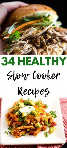 These 34 Healthy Slow Cooker Recipes will end your weekday meal stress. With options for breakfast, lunch and dinner you can feed your family delicious crock pot meals without a lot of effort. Gluten Free Recipes For Breakfast, Healthy Gluten Free Recipes, Healthy Recipes For Weight Loss, Healthy Dinner Recipes, Healthy Slow Cooker, Slow Cooker Recipes, Crockpot Recipes, Lunches And Dinners, Meals