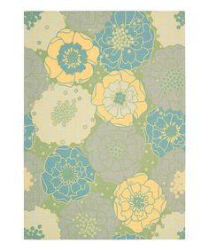 Look what I found on #zulily! Green Floral Indoor/Outdoor Rug #zulilyfinds