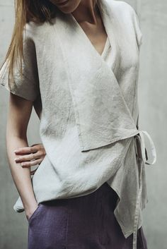 Wrap linen blouse Motumo 14P3 by MotumoLinen on Etsy