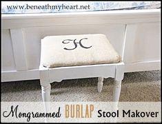burlap stool makeover