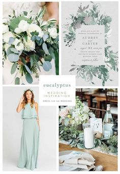 green wedding inspiration with ideas for dresses, invites, and decor . - September -Eucalyptus green wedding inspiration with ideas for dresses, invites, and decor . Spring Wedding Colors, Fall Wedding, Dream Wedding, Luxury Wedding, Rustic Wedding, Wedding Colors Green, Unique Wedding Colors, Neutral Wedding Colors, Magical Wedding