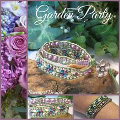 GARDEN PARTY 2x Beaded Leather Wrap Bracelet by RavengirlDesign