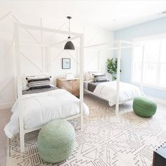 A bright and airy bedroom by JLV Creative including Surya's Pueblo rug...we love the subtle architectural details added to the walls, too! Nice touch! (PBL-6000)