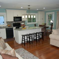 Small open floor plan Wall Colors, Cabins John, Birchtr Ideas, Kitchens Colour, Counters Stools, Kitchens Ideas, White, Small Open Floors Plans, Whhite Cabinets