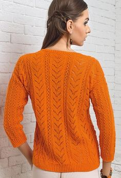Free Knitting Patterns - Pullover in Leaf Pattern Knitting Paterns, Free Knitting, Knitting Projects, Crochet Abbreviations, Lace Cardigan, How To Start Knitting, Long Winter, Dame, Clothes For Women