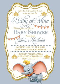 DIY PRINTABLE Baby Shower Invitation Baby of Mine | Dumbo Baby Shower | Quote…