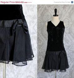 1960s black velvet and tulle mini dress by SassySisterVintage $64