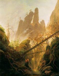 Caspar David Friedrich - Ravin dans la montagne Elbsandsteing