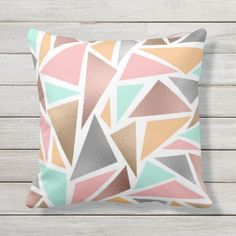 Shop Modern Rose Gold Mint Metallic Triangles Geometric Throw Pillow created by _LaFemme_. Geometric Throws, Geometric Wall, Teal Rooms, Mint Decor, Teal And Pink, Teal Green, Gold Girl, Gold Bedroom, Custom Pillows