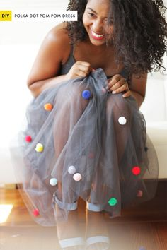 DIY Polka Dot Pom Pom Dress