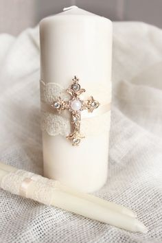 Unity Candle Set Gold Cross Candle Set Church by BrilliantBride