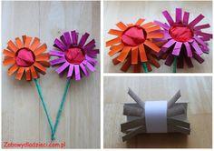 Kwiaty z rolki od papieru