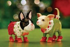 Krinkles Chihuahua & Boston Terrier Dog Salt & Pepper Shaker. #PatienceBrewster #Christmas #Ornament #Decor #Figurines #Gift #Giftideas #gosstudio .★ We recommend Gift Shop: http://www.zazzle.com/vintagestylestudio ★