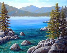 """""""Lake Tahoe Inlet"""" measures 16 x 20 inches on a cradled hardboard panel 2 inches deep with black sides. The challenge is capturing many physical properties of light as it interacts with the water, reflecting, refracting, and the magnification of the light hitting the shallows producing intense light caustics. Prints are available."""