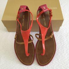 749ed91b055a Sergio Rossi Safari Lux PVC Sandals Sz 10 Coral Flats Shoes Orange 40   fashion