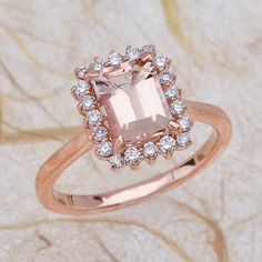 Mrganite Engagement Ring - Rose Gold Engagement Ring - Morganite 8X6 rose gold 14K with .40Ctw G SI2 clarity diamonds