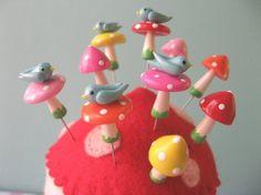Mini Birdie Mushroom Pin Topper Sets by PinksAndNeedles