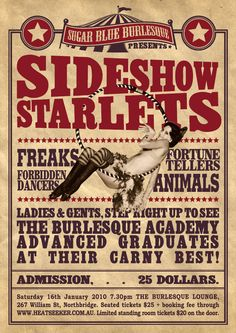 Carnival Sideshow Freaks Poster | Sideshow Starlets show on this Saturday!