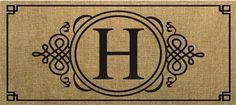 Evergreen Sassafras Switch Mat  Burlap Monogram H 431021H NEW