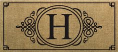 Evergreen Sassafras Switch Mat  Burlap Monogram H 431021H NEW