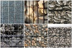 Gabion Wall Fillers - for decorative purposes, clockwise: lighter small rock, brick, shells, broken ceramics, river rock, etc