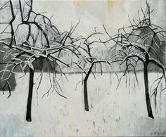 "Mykolé, ""Three Trees"", 2013, 46 x 55 cm, Oil, canvas. Contemporary landscape paintings."