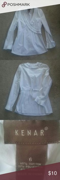 Fancy top White fancy pleat detail top. Faux wrap, side zip. Good used condition. Kenar Tops Blouses