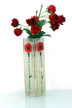 Fused glass vase red  Poppies landscape by virtulyglass on Etsy, $35.00