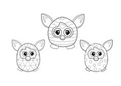 Furby coloring sheet for kids, printable free one, furby collection