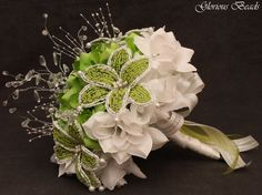 Amazon.com: Lime Green Beaded Lily Wedding Flower 17 piece set with Lime and White Roses ~ Unique French beaded flowers and beaded sprays: Handmade