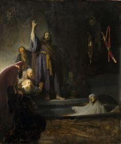 Rembrandt Harmensz. van Rijn - The Raising of Lazarus, c.1630-32. Oil on wood 37 15/16 x 32 in. (96.36 x 81.28 cm)