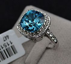 Sz 6 - 9 18K WGP Dazzling Sapphire-Crystal Ring. Starting at $1 on Tophatter.com!
