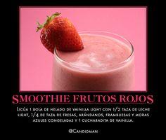 #Bebida #Smoothie de Frutos Rojos...  Licúa 1 bola de helado de vainilla light con 1/2 taza de leche light, 1/4 de taza de fresas, arándanos, frambuesas y moras azules congeladas y 1 cucharadita de vainilla.  @candidman