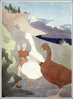 """TAKE ME THERE! Love these watercolor Illustrations by Mary Hamilton Frye """"The Wonderful Adventures of Nils"""" written by Selma Lagerlo; Published by Doubleday & Co ~ 1913"""
