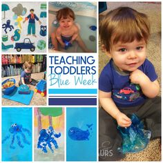 Great ideas for teaching colors to your kids!  Teaching Toddlers: Blue Week (for Kiddos 15+ Months) - handprint and footprint art, sensory bins, felt board, blue baths, and more! diyanddinosaurs.com