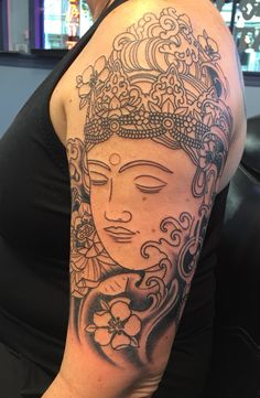 After all this inspiration, here is the start of my Tara (female Buddha) tattoo. In about a month some color will be added and the face will get shading... Love it!