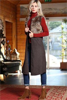 Tesettür Giyim Hırka, Yelek Modelleri En Ucuz Fiyatlara En Kaliteli Ürünler Moda Sevinç'de ModaSevinç, 44,9 TL, Kürklü Yelek (Kahve)