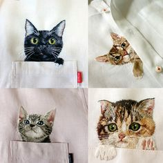 Cats Embroidered on Fancy Shirts by Hiroko Kubota. Want.