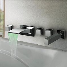 Rozinsanitary LED Colors Waterfall Bathroom Tub Faucet Wall Mount Sink Mixer Tap with Hand Shower, http://www.amazon.com/dp/B00GRWJG9G/ref=cm_sw_r_pi_awdm_cevewb1PSFX06