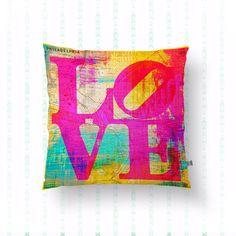 Love Pillow Philadelphia Vintage Map Inspired Throw Pillow Colorful City Decor